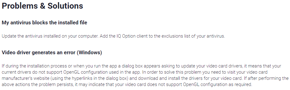 Problems & Solutions of iqoption