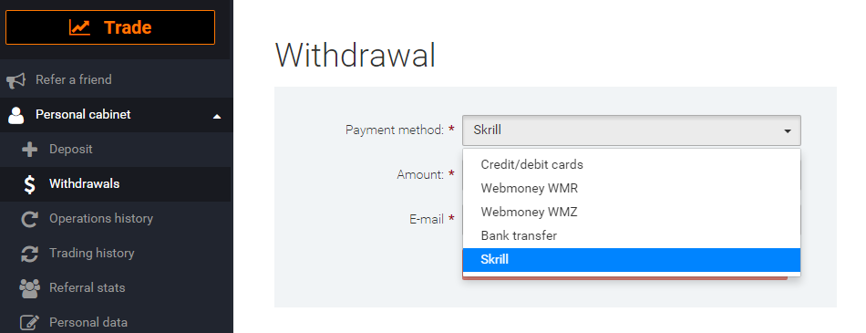 How to request withdrawal on IqOption.com?