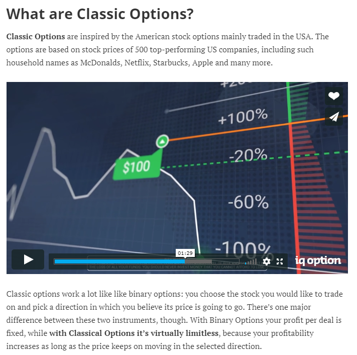 IqOption.com classic european american options