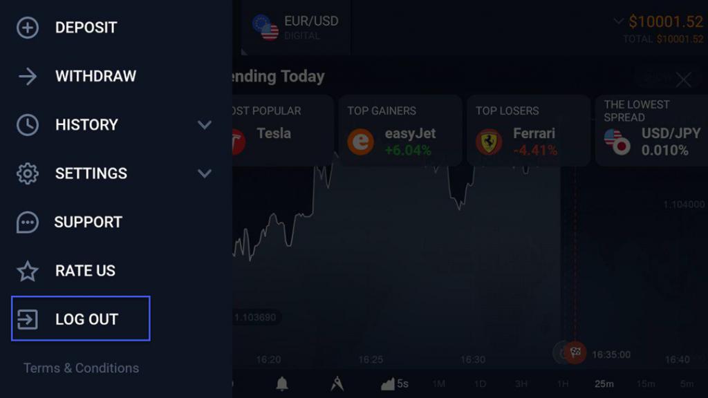 iqoption android app logout