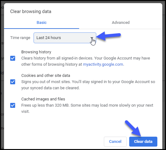 iqoption clear browsing data