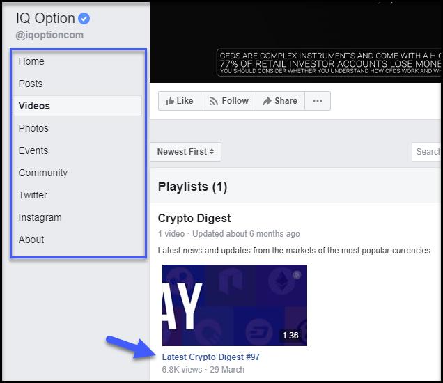 iqoption facabook page menus
