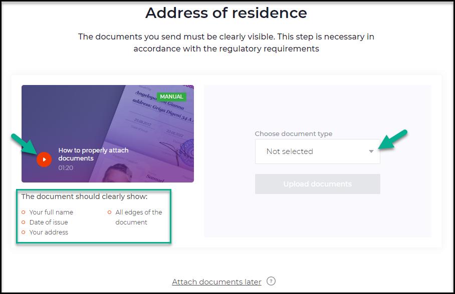 IQ Option Address of Residence