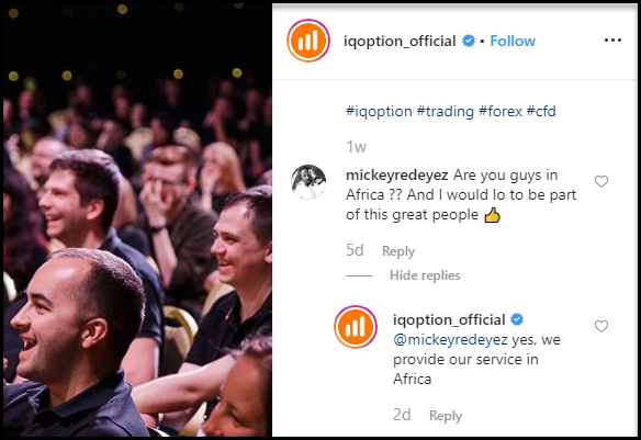IQ Option Instagram Comments