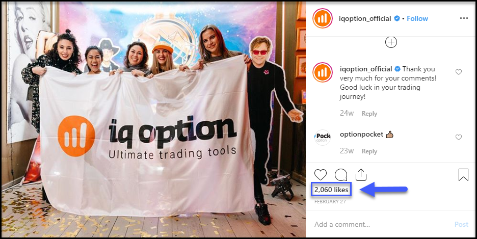 IQ Option Instagram Likes
