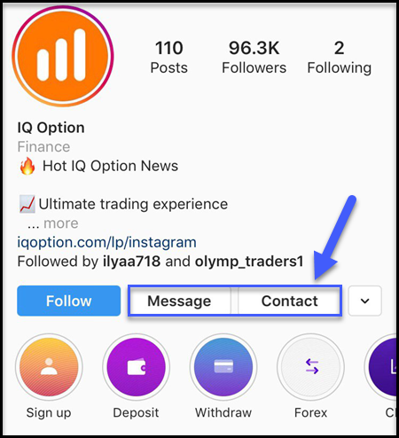 IQ Option Support by Instagram