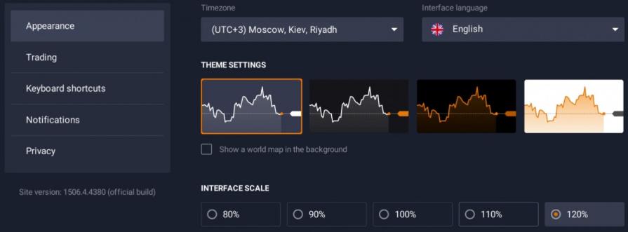 Appearance IqOption Platform