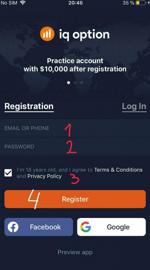 Iq Option open account from ios app