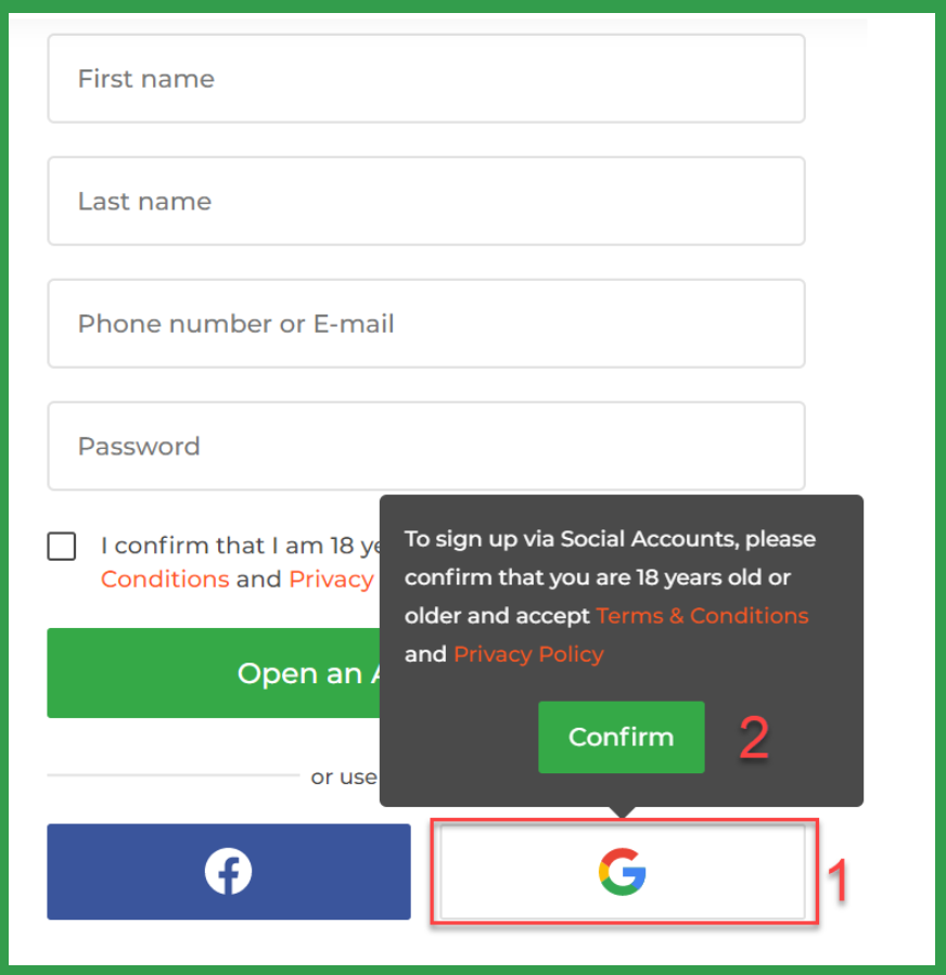 Iq Option registration via Gmail