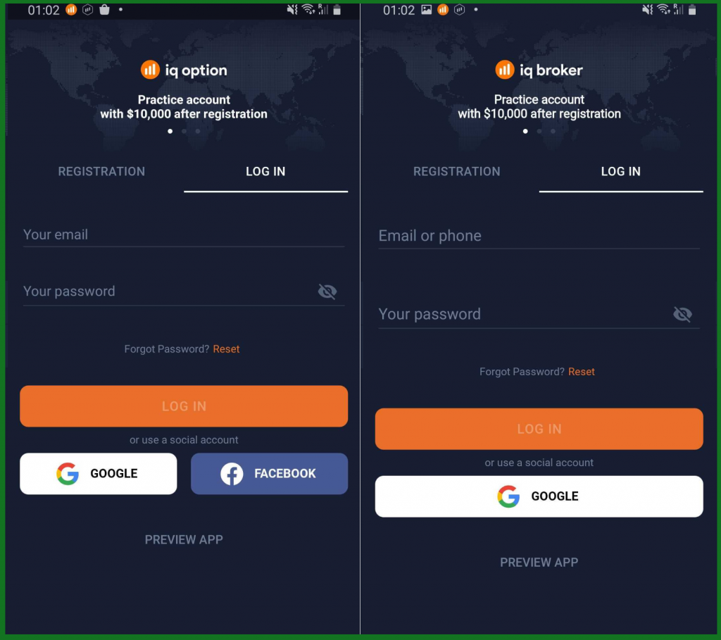 IqOption & IqBroker - android app login