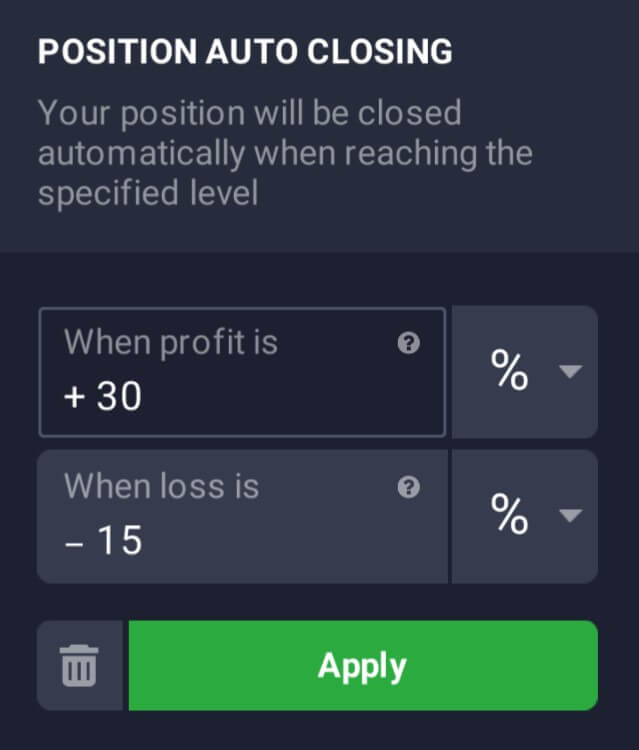 IqOption Opening stop loss orders
