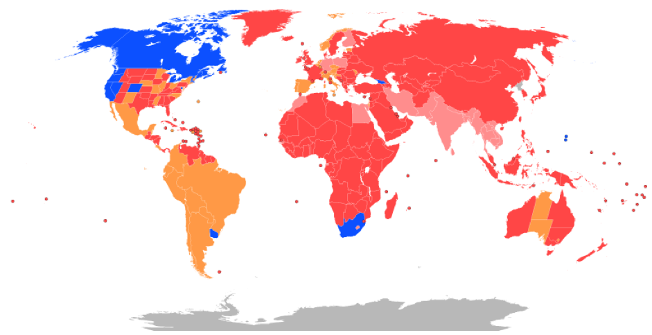 Recreational cannabis by country.